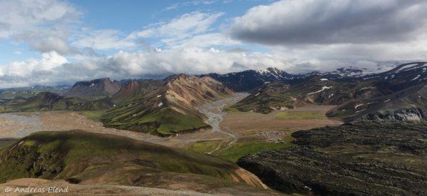 Landmannalaugar Campingplatz von oben