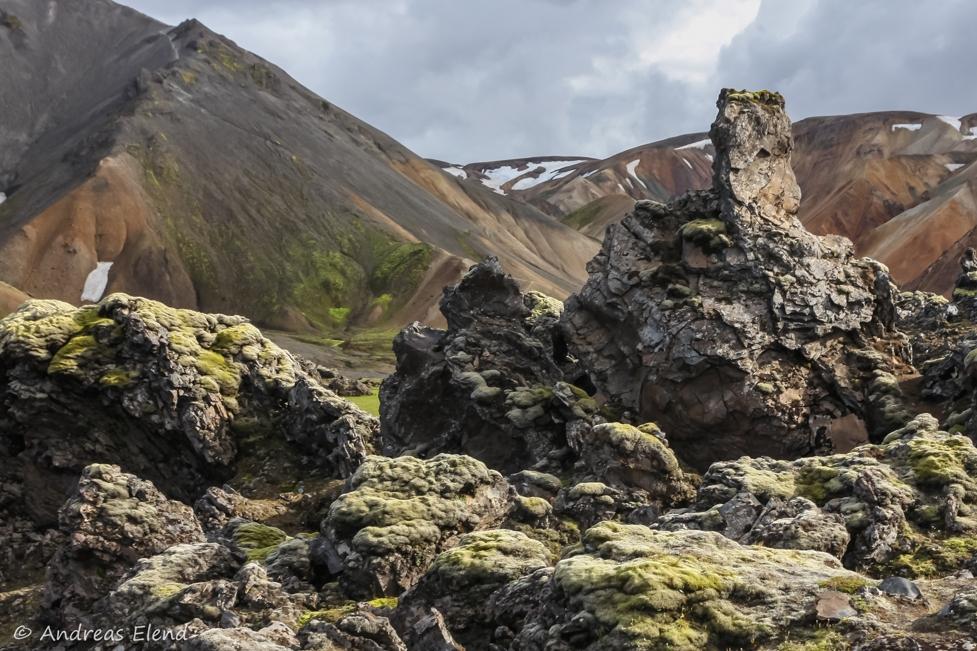 Landmannalaugar: Moos auf Obsidian